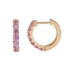 14K Gold Purple Sapphire Thick Huggie Hoop Earrings (11.5mm x 8.25mm)