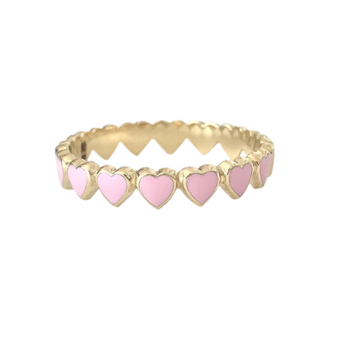14K Gold Pastel Pink Enamel Eternal Heart Ring