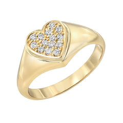 14K Gold Pavé Diamond Heart Signet Ring