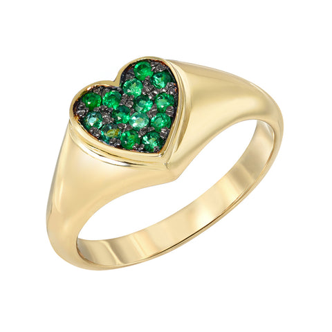 14K Gold Pavé Emerald Heart Signet Ring