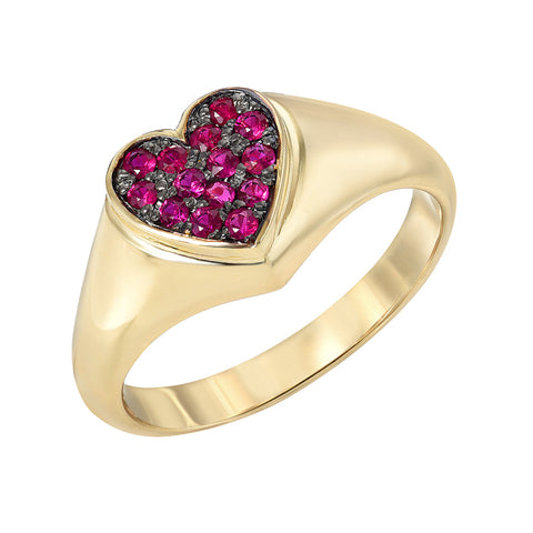 14K Gold Pavé  Ruby Heart Signet Ring