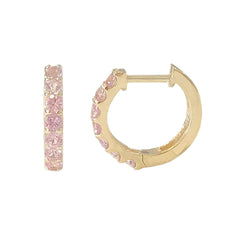14K Gold Powder Pink Sapphire Thick Huggie Hoop Earrings (11.5mm x 8.25mm)