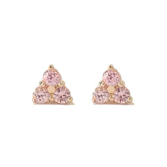 14K Gold Triple Pink Sapphire Trinity Cluster Stud Earrings