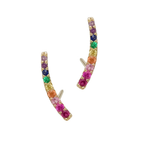 14K Gold Rainbow Gemstone Climber Arch Earrings