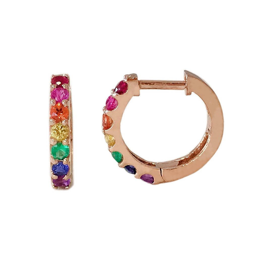 14K Gold Rainbow Gemstone Thick Huggie Hoop Earrings (11.5mm x 8.25mm) ~ In Stock!