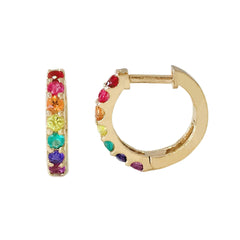 14K Gold Rainbow Gemstone Thick Huggie Hoop Earrings (11.5mm x 8.25mm)