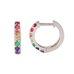 14K Gold & Rainbow Gemstone Thick Huggie Hoop Earrings (11.5mm x 8.25mm) ~ In Stock!