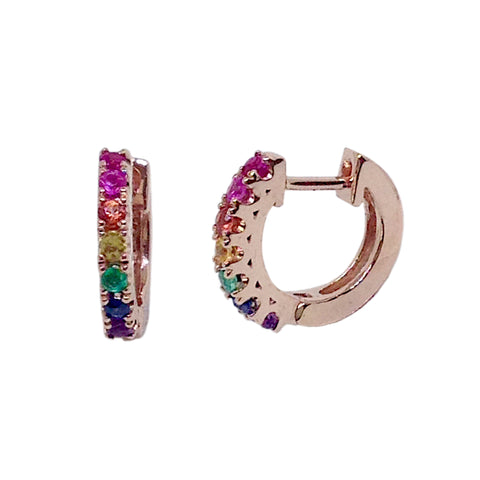 14K Gold Rainbow Gemstone Thick Huggie Hoop Earrings (11mm x 6mm)