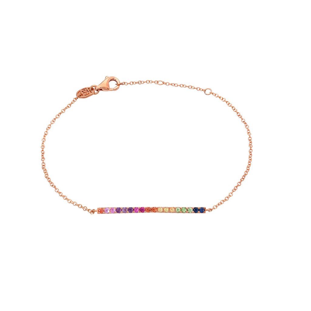 14K Gold Rainbow Gemstone Bar Bracelet