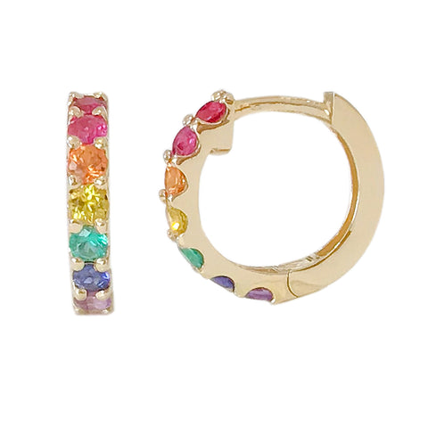 14K Gold & Rainbow Gemstone Thick Huggie Hoop Earrings (13.75mm x 9.5mm) ~ In Stock!