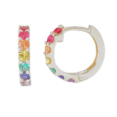 14K Gold Rainbow Gemstone Thick Huggie Hoop Earrings (13.75mm x 9.5mm)