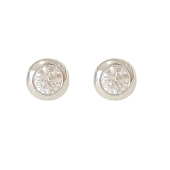 14K Gold 2.5mm Solitaire Diamond Round Bezel Set Stud Earrings