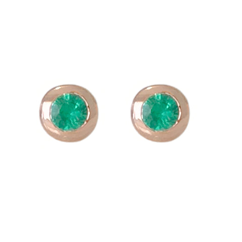 14K Gold 2.5mm Solitaire Emerald Round Bezel Set Stud Earrings ~ In Stock!