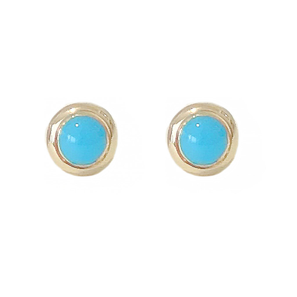 14K Gold 2.5mm Solitaire Turquoise Round Bezel Set Stud Earrings ~ In Stock!
