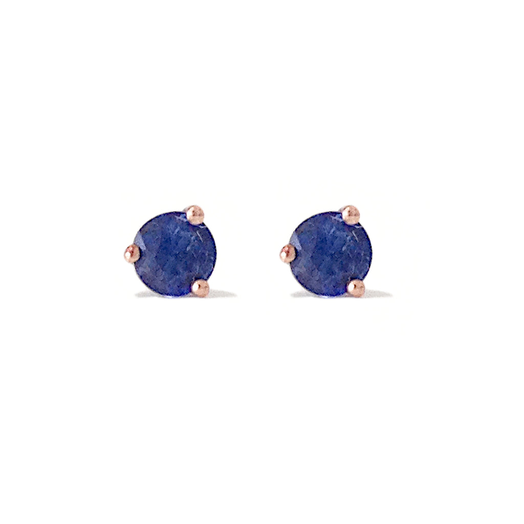 14K Gold Solitaire 3mm Blue Sapphire Martini Stud Earrings