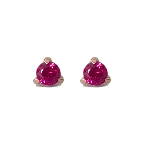 14K Gold Solitaire 3mm Ruby Martini Stud Earrings ~ In Stock!