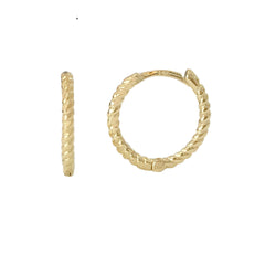 14K Gold Braided Rope Huggie Hoop Earrings ~ In Stock!