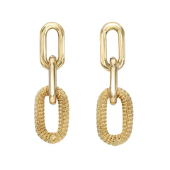 14K Gold Rope Detail Thick Oval Link Chain Dangle Stud Earrings ~ LIMITED EDITION