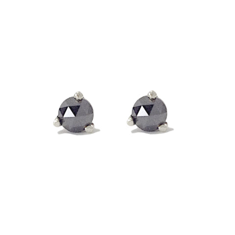 14K Gold Solitaire 3mm Rose Cut Black Diamond Martini Stud Earrings ~ In Stock!