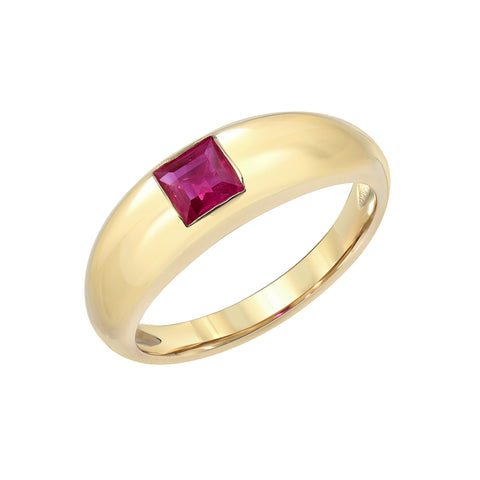 14K Gold Burmese Ruby Step Cut Solitaire Domed Stack Ring ~ LIMITED EDITION