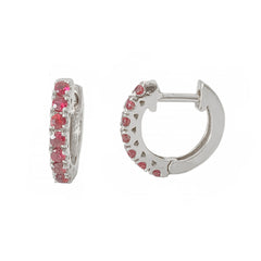 14K Gold Ruby Thick Huggie Hoop Earrings (11mm x 6mm) ~ In Stock!