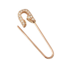 14K Gold & Pavé Diamond Safety Pin Earring