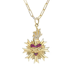 14K Gold Pavé Diamond & Ruby Flaming Sacred Heart Medallion Necklace ~ In Stock!