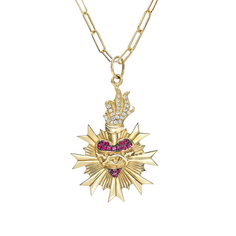 14K Gold Pavé Diamond & Ruby Flaming Sacred Heart Medallion Necklace