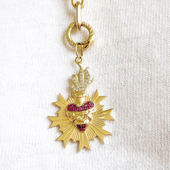 14K Gold Pavé Diamond & Ruby Flaming Sacred Heart Charm Necklace ~ In Stock!