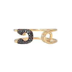 14K Gold Pavé Black Diamond Safety Pin Ring