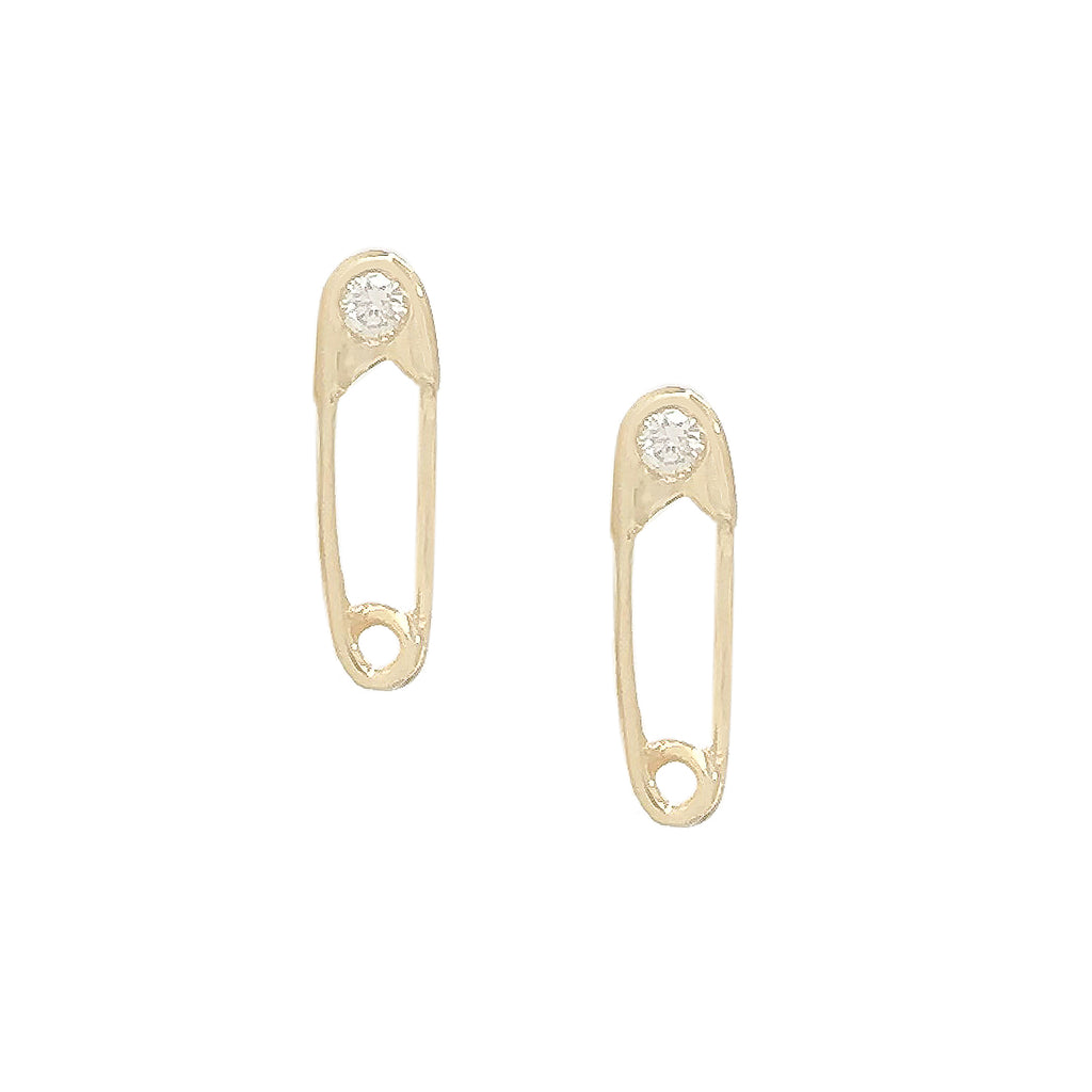 14K Gold Diamond Safety Pin Stud Earring