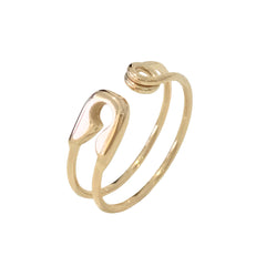 14K Gold Safety Pin Ring