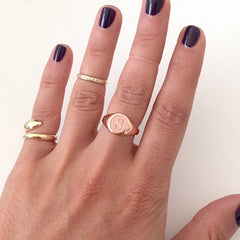 14K Gold Initial Name Letter Signet Ring