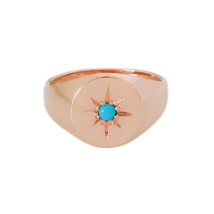 14K Gold Star Set Turquoise Round Signet Ring