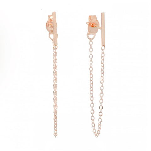 14K Gold Small Bar Chain Dangle Stud Earrings ~ In Stock!