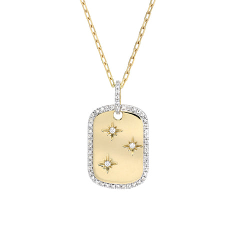14K Gold Pavé Diamond Starburst Dog Tag Pendant Necklace, Small Size ~ One Of A Kind LIMITED EDITION