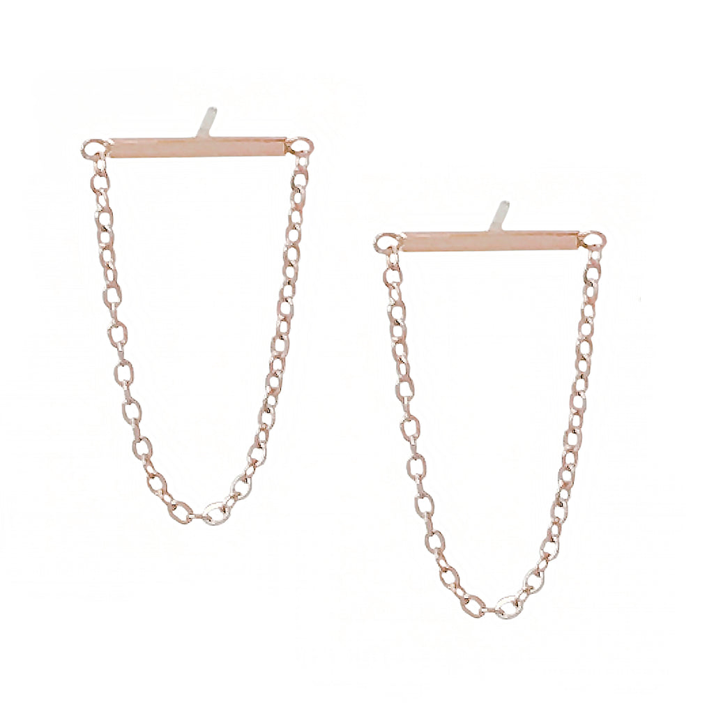 14K Gold Small Bar Chain Horizontal Dangle Stud Earrings