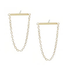 14K Gold Bar Chain Horizontal Dangle Stud Earrings