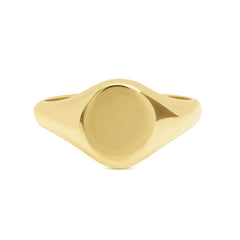 14K Gold Oval Signet Ring ~ Small Size