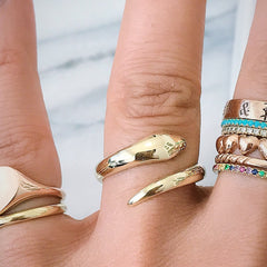 14K Gold Snake Wrap Bypass Ring