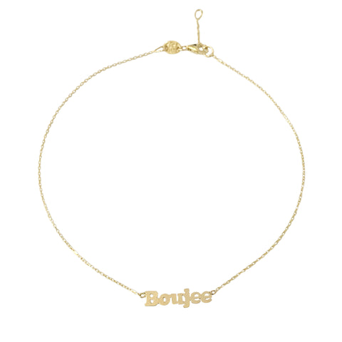 14K Gold Single Name Charm Ankle Bracelet (Anklet) ~ Block Font