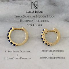 14K Gold & Sapphire Thick Huggie Hoop Earrings (11mm x 6mm)