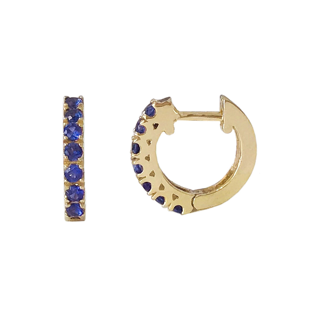 14K Gold Sapphire Thick Huggie Hoop Earrings (11mm x 6mm)