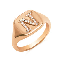 14K Gold Pavé Diamond Initial Square Signet Ring