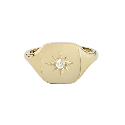 14K Gold Star Set Diamond Square Signet Ring