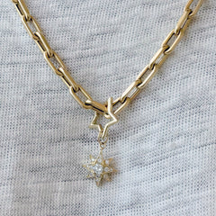 14K Gold Pavé Diamond Starburst Pendant Necklace, Large Size ~ In Stock!