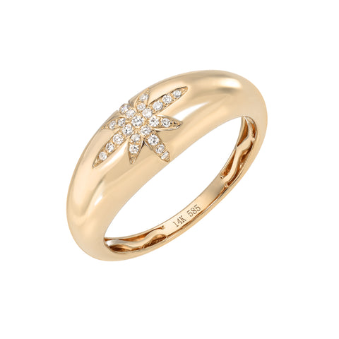 14K Gold Starburst Pavé Diamond Domed Stack Ring ~ LIMITED EDITION