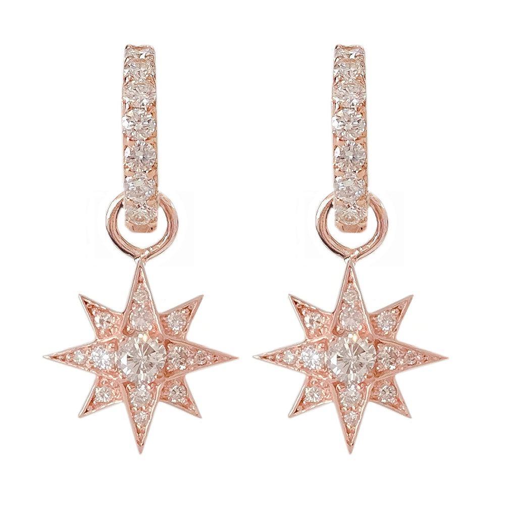 14K Gold Pavé Diamond Starburst Dangle Huggie Hoop Earrings ~ Convertible Large Size Starburst Charm