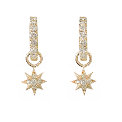 14K Gold Pavé Diamond Starburst Dangle Huggie Hoop Earrings ~ Convertible Small Size Starburst Charm