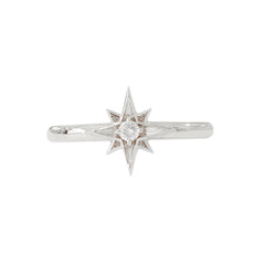 14K Gold Diamond Solitaire Starburst Ring ~ In Stock!